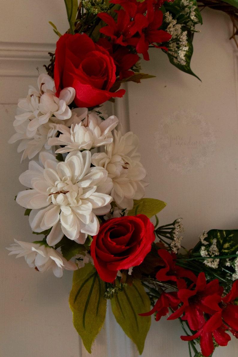Red Roses Valentines Wreath 12 Inch Wreath I Love Us Home Decor Valentines Decor Door Hanger Spring Grapevine Wreath Gift