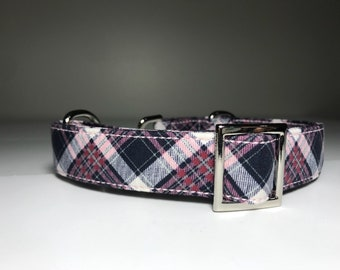 Pink and Navy Checkered Collar