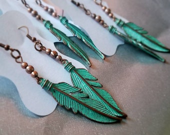 Copper & Teal Feather Earrings