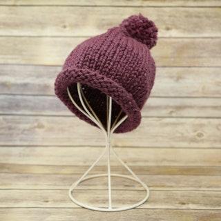Handmade Knit Purple Beanie