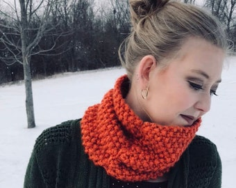 Orange Seed Stitch Cowl