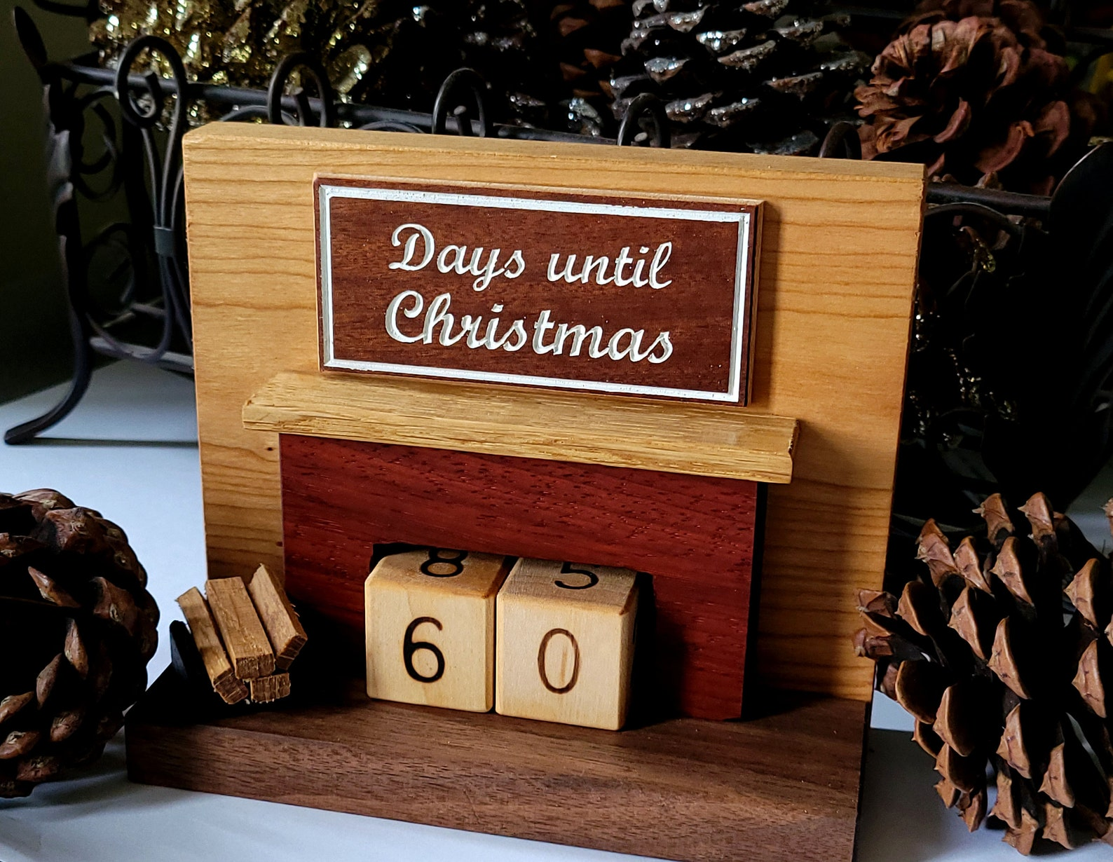Fireplace Christmas Countdown Blocks