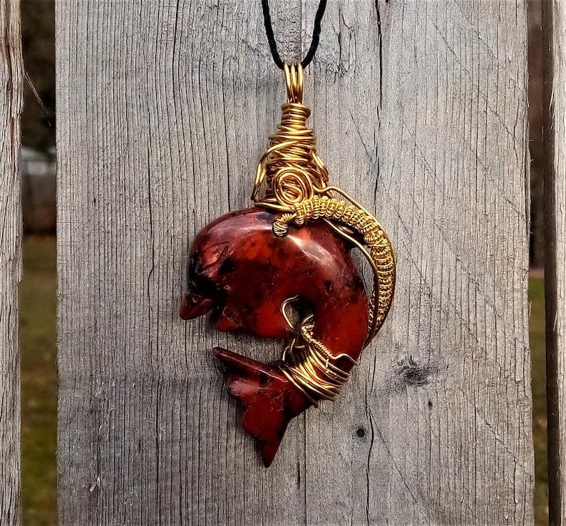 Picture Jasper Dolphin Natural Gemstone Pendant Necklace 50cm Healing Stone
