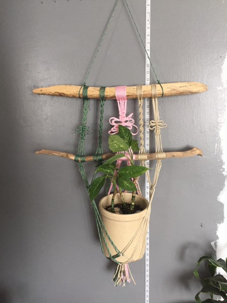 Sage Pink Tan Macrame Plant Hanger On Driftwood Green Etsy