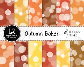 Autumn bokeh digital papers, red & orange fall bokeh scrapbook papers, 12 backgrounds, digital download, commercial use, 12x12 jpeg files