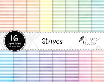 Watercolor horizontal stripes digital papers, watercolor stripes scrapbook papers, 16 rainbow backgrounds, commercial use, 12x12 jpeg files