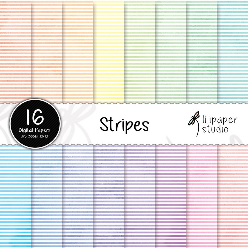 Watercolor horizontal stripes digital papers watercolor image 0
