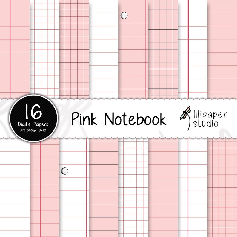 Pink notebook digital papers pink sheets diary pages image 0