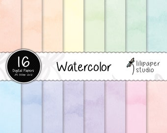 Watercolor digital papers, pastel watercolor scrapbook papers, 16 rainbow watercolor digital backgrounds, commercial use, 12x12 jpeg files