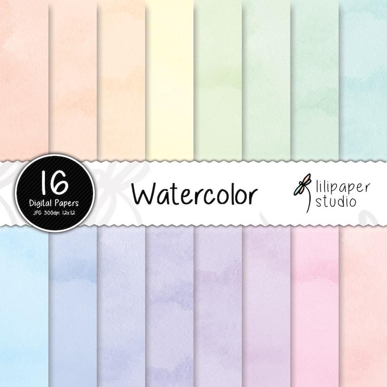 Watercolor digital papers pastel watercolor scrapbook papers image 0