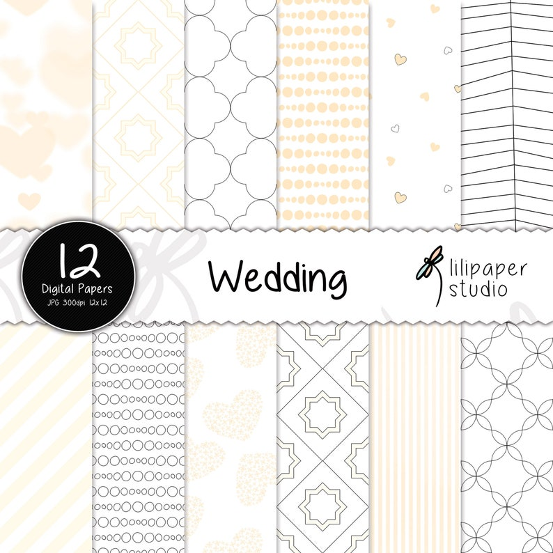 White wedding digital papers sweet white pink & peach image 0