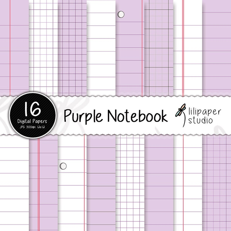 Purple notebook digital papers purple diary pages scrapbook image 0