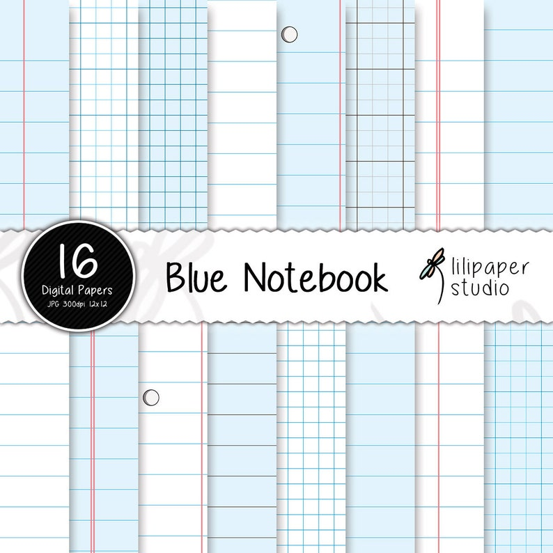 Blue notebook digital papers blue sheets diary pages image 0