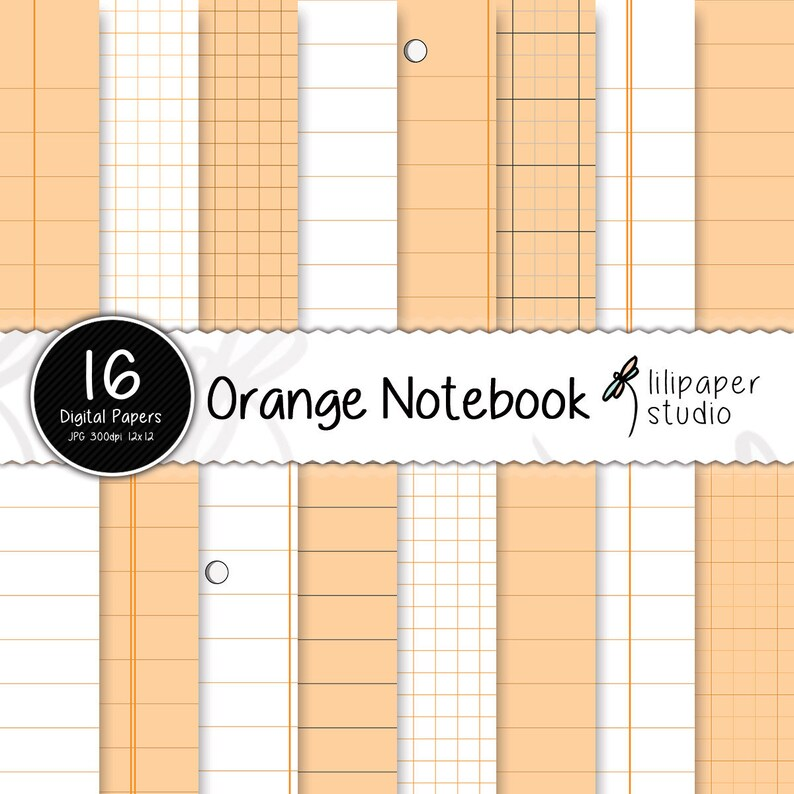 Orange notebook digital papers sheets & diary pages scrapbook image 0