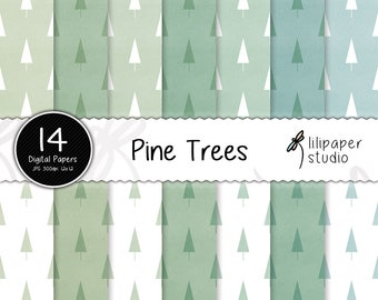 Watercolor pine trees digital papers, watercolor tree scrapbook papers, 14 backgrounds, digital download, commercial use, 12x12 jpeg files