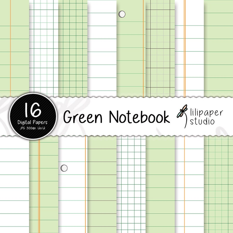 Green notebook digital papers sheets & diary pages scrapbook image 0