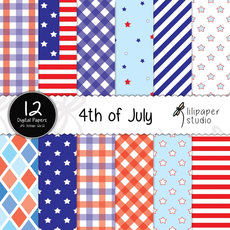 4th of July digital papers independence day scrapbook papers image 0