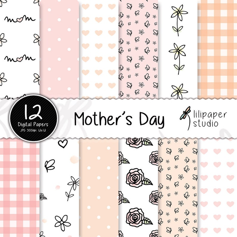 Mother's day digital papers seamless mother's day image 0