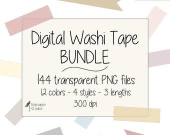 Soft neutral washi tape cliparts, 144 transparent png files, digital washi tape, digital download, commercial use, 4 styles & 3 lengths