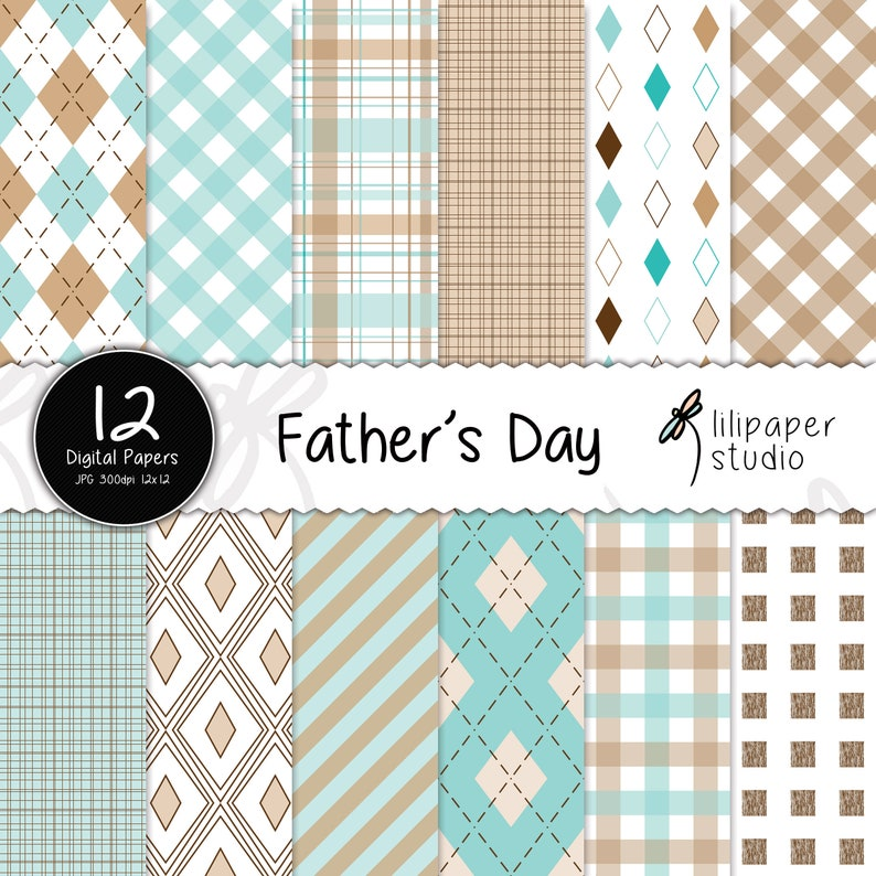 Father's day digital papers father's day scrapbook image 0