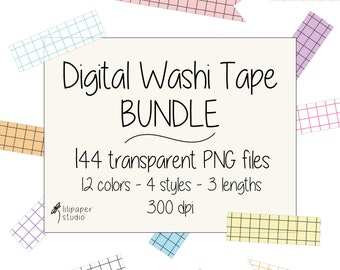 Notebook washi tape cliparts, 144 transparent png files, digital washi tape, digital download, commercial use, 4 styles & 3 lengths