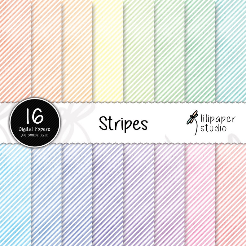 Watercolor diagonal stripes digital papers rainbow watercolor image 0