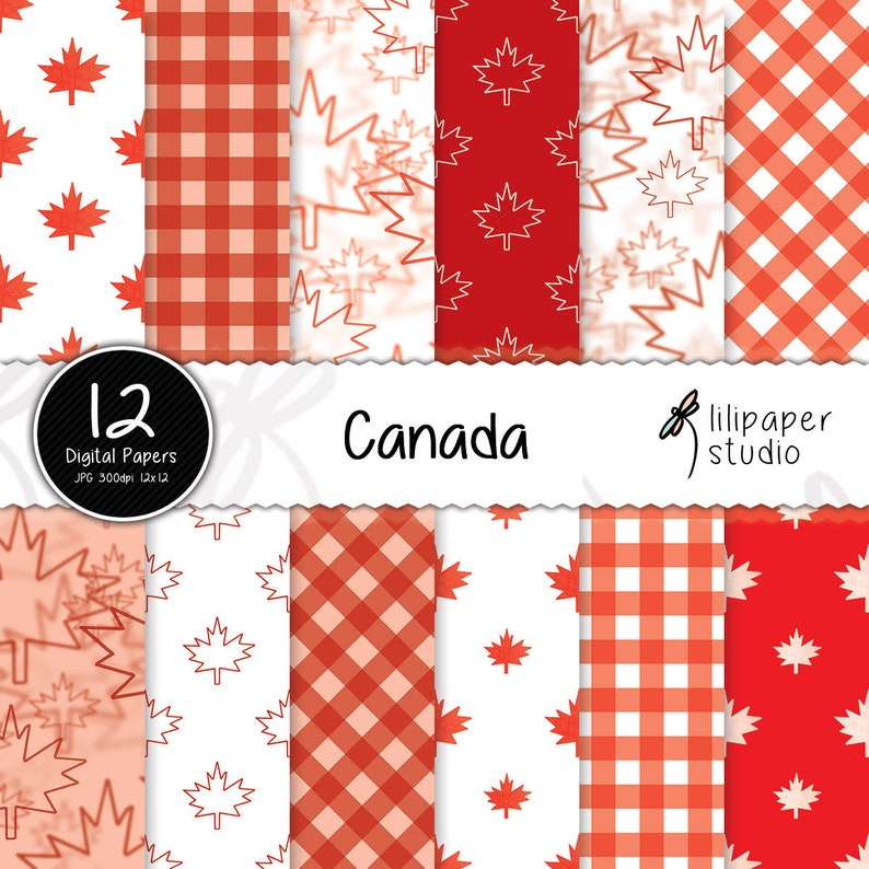 Canada Day digital papers red Canada Day scrapbook papers 12 image 0