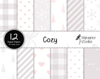 Cozy winter home digital papers, christmas & winter scrapbook papers, 12 backgrounds, digital download, commercial use, 12x12 jpeg files