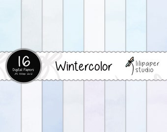 Winter watercolor digital papers, blue watercolor scrapbook papers, 16 blue winter watercolor backgrounds, commercial use, 12x12 jpeg files