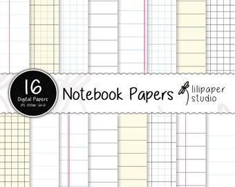 Notebook pages digital papers, diary pages scrapbook papers, grid & ruled notebook papers, 16 backgrounds, commercial use, 12x12 jpeg files