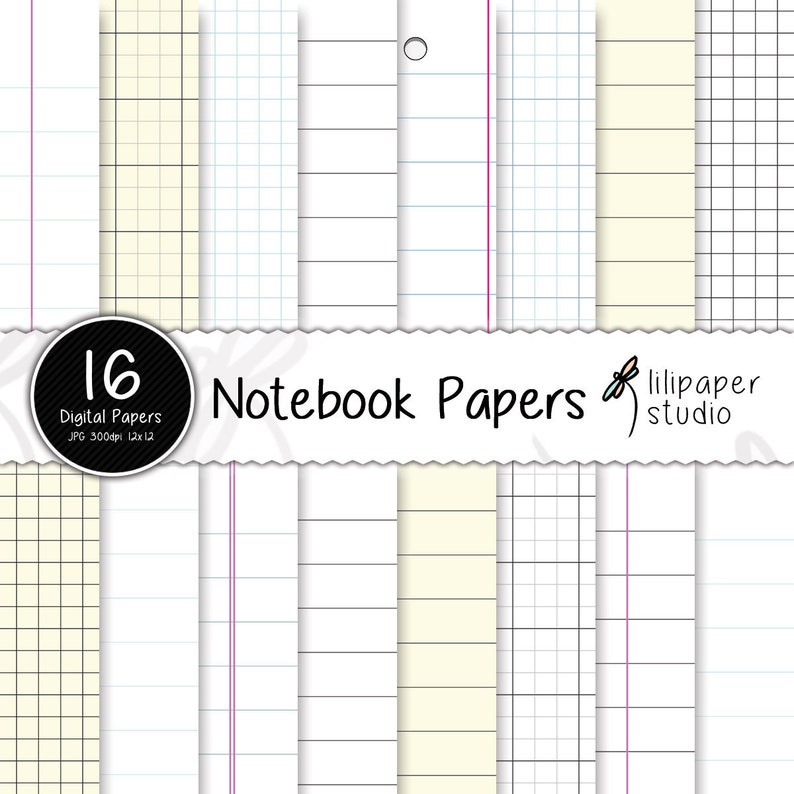 Notebook pages digital papers diary pages scrapbook papers image 0