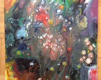 Canvas Abstract Painting Acrylic Pouring Technique - Fairy forest