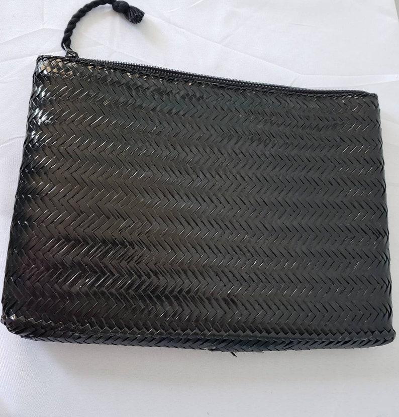 Black Wicker Envelope Clutch