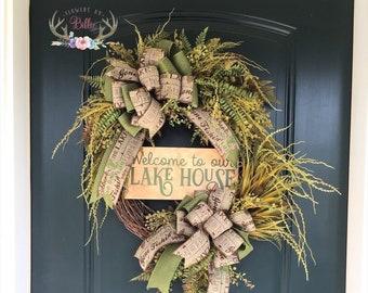 Welcome Lake House Fishing Wreath, Fishing Wreath, Lake Life Wreath, Cabin Wreath, Lake House Wreath, Lodge Wreath
