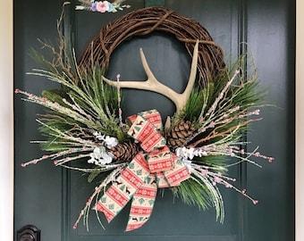 Frosted Winter Deer Antler Wreath, Deer Antler Wreath, Winter Antler Wreath, Cabin Wreath, Lodge Wreath