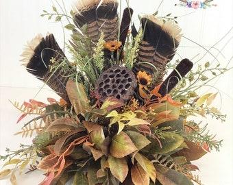 Wild Turkey Feather Centerpiece, Turkey Feather Table-Piece, Turkey Feather Arrangement, Cabin Arrangement, Lodge Arrangement