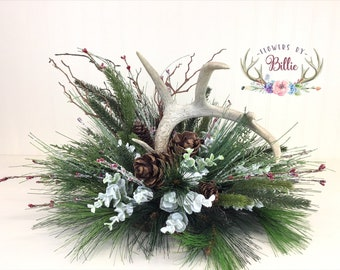 Frosted Winter Deer Antler Centerpiece, Deer Antler Arrangement, Winter Centerpiece, Christmas Centerpiece