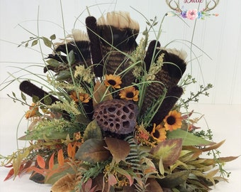 Wild Turkey Feather Centerpiece, Turkey Feather Table Piece, Turkey Feather Arrangement, Cabin Arrangement, Lodge Arrangement