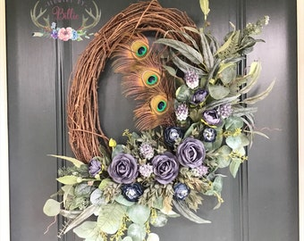 Oval Peacock Feather Wreath, Peacock Feather, Bohemian Wreath, Eclectic Wreath, Exotic Wreath