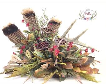 Deer Antler Centerpiece with Wild Turkey Feathers, Deer Antler Table-piece, Deer Antler Floral, Cabin Decor, Lodge Decor, Turkey Feathers
