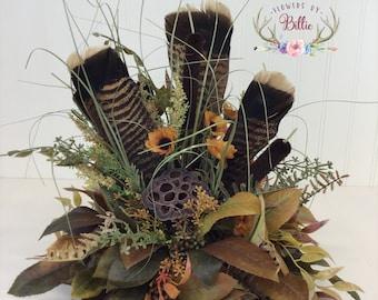 Wild Turkey Feather Centerpiece, Turkey Feather Table Piece, Turkey Feather Arrangement, Cabin Arrangement, Lodge Arranagement