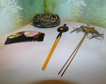 Four Asian style painted hair pics and a comb