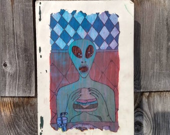 Alien Eating Cheeseburger in a Diner - Original Lowbrow Art - Acrylic Paint and Ink