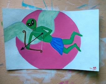 Alien Cupid Original Valentine's Day Acrylic Painting