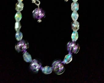 Handmade Purple Striped and Clear Glass Beads Ready to ship