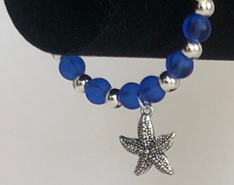 Blue and White Sea Glass Bracelet with Starfish Charm