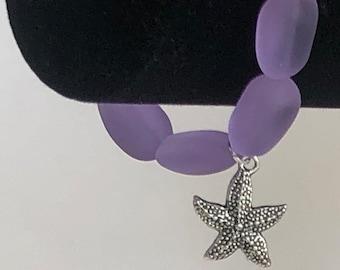 Lavender Sea Glass Bracelet with Starfish Charm