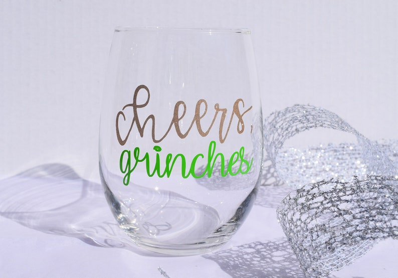 33daf4c6fad Cheers Grinches Christmas/ Holiday Stemless Wine Glass/ | Etsy