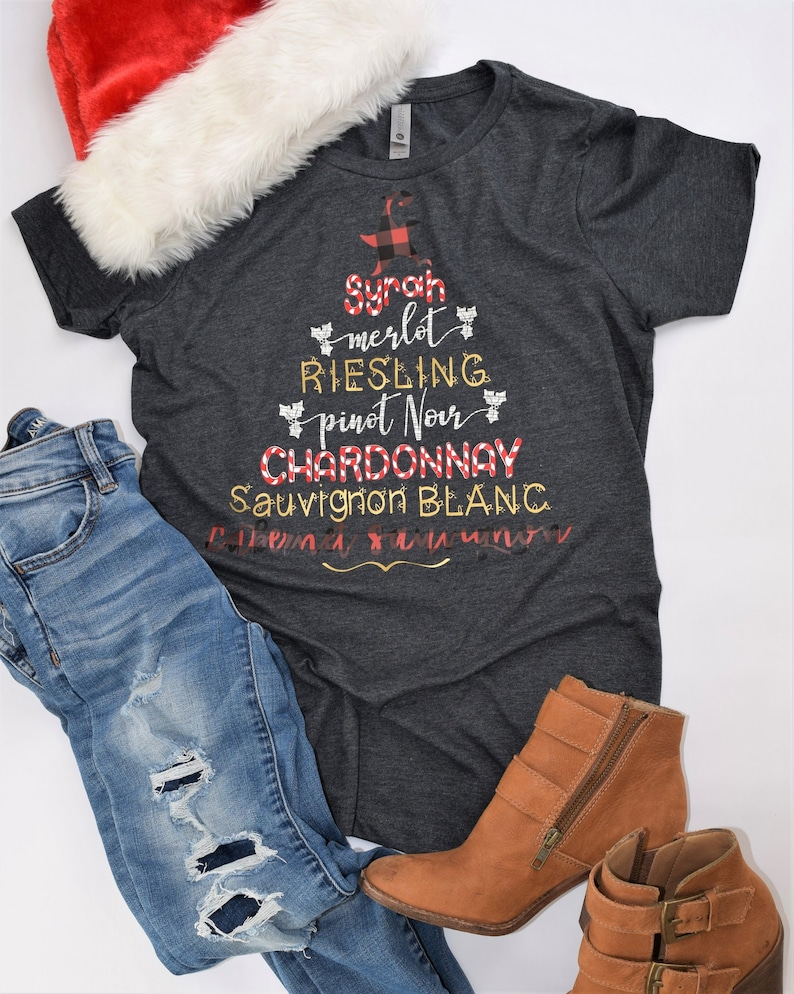 Wine Christmas Tree Shirt.Wine Names Words Christmas Tree Womens T Shirt Funny Holiday Shirts Buffalo Plaid Candy Cane Gold And Checkered Patterns