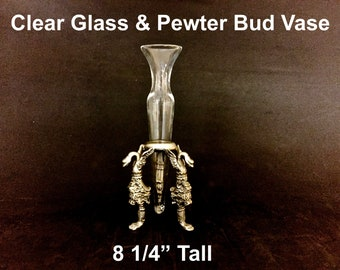 Vintage Clear Glass Bud Vase Pewter Stand Floral Gargoyle Mythology Home Decor
